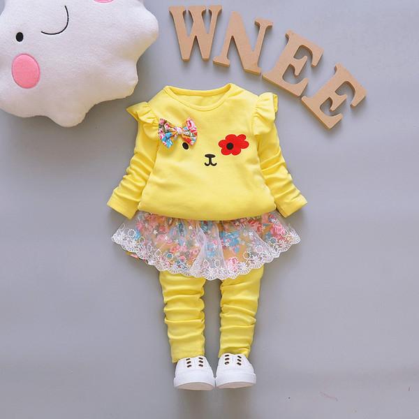 good qulaity Baby Girl Clothing Sets Bebe Spring Sport Suit Autumn Children Clothes Set kids Long Sleeve Floral Print Shirt+Pants