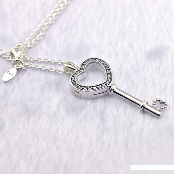 Cancella Cuore CZ chiave Locket Collane per le donne di moda Argento 925 fai da te Floating Glass Locket dei pendenti delle collane