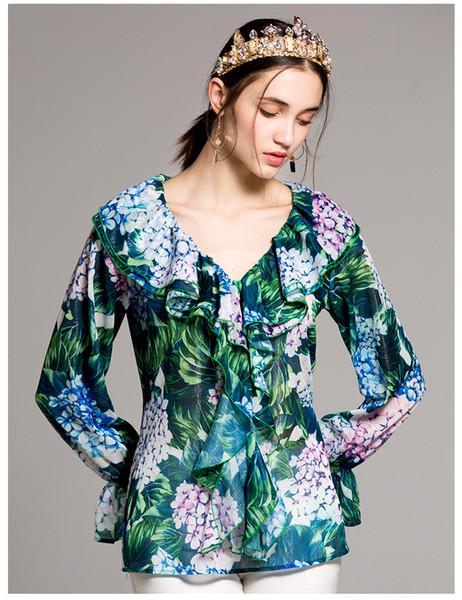 Özelleştirmek Made Kadınlar Uzun Kollu Kadın Tops Ve Bluzlar Yaz 2019 Pist Çiçek Baskı Yeşil Gömlek Artı Boyutu XXXL