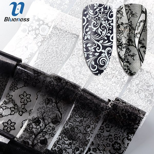 Blueness 10Roll/Set Black White Nail Foil Transfer Stickers Lace Flower Mix Design Manicure DIY Nail Art Decorations Stickers