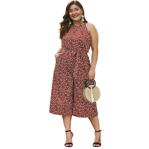 Women Plus Size Jumpsuits Rompers Printed Wide Legs Pants Red Jumpsuits 3XL 4XL Overalls Woman Female Oversized Bodysuits A028