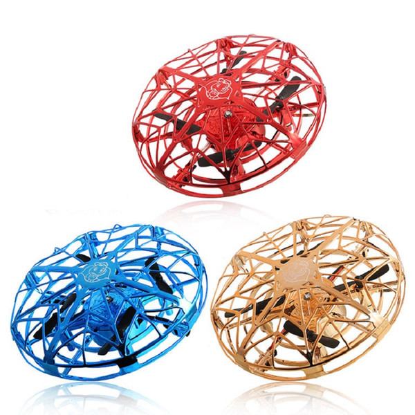 top popular UFO Gesture Induction Suspension Aircraft Smart Flying Saucer With LED Lights UFO Ball Flying Aircraft RC Toys Led Gift Induction Drone 2021