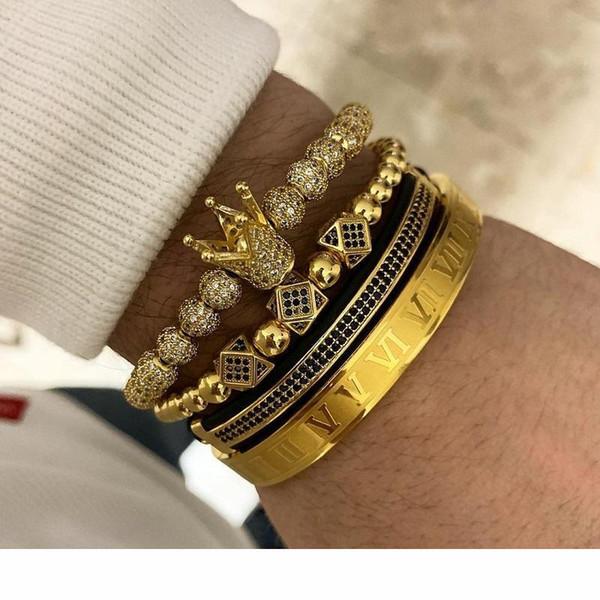 3pcs set + Roman Numeral couple Bracelets acier Bracelet Couronne charme pour Love Bracelets Vintage Femmes Hommes Luxe Bijoux Cadeau de Noël