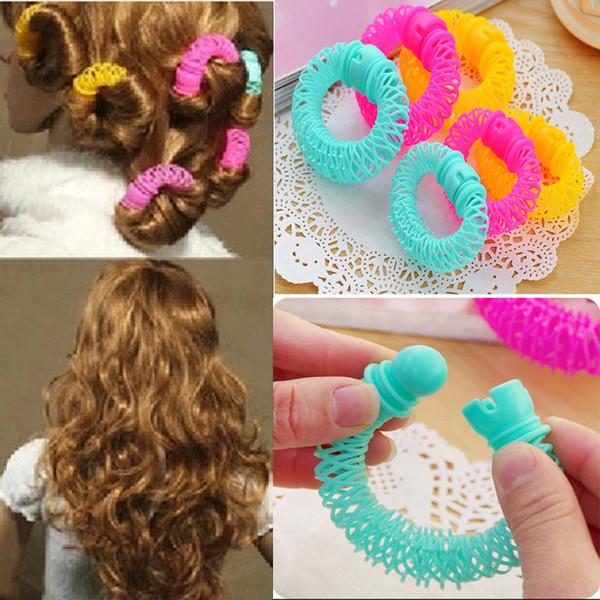 8 adet Kızlar Bigudi Saç Maşaları Elastik Yüzük Bendy Bigudi Spiral Bukleler DIY Aracı Saç Aksesuarları Kadınlar için Styling Rulo