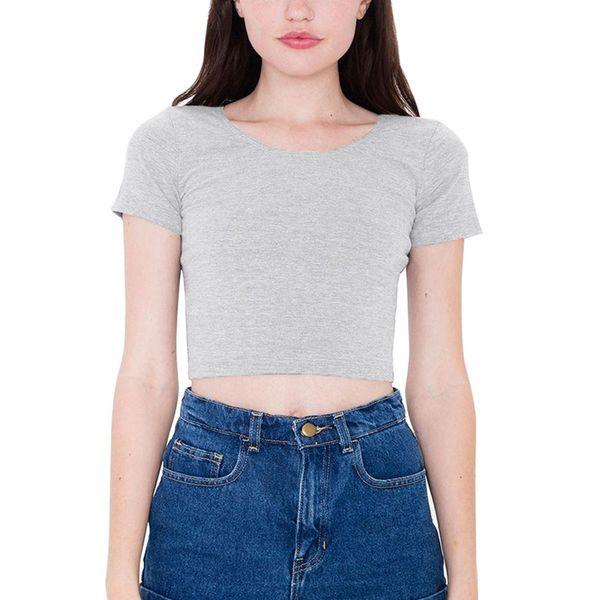 Algodón Camisetas de mujer Cuello de O Sexy Crop Top Camisetas de manga corta Camisa de las señoras Short Stretch Camiseta básica