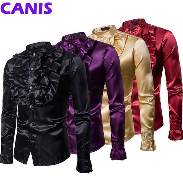 Hirigin 2019 Men's Suit Shirts Long Sleeve Formal Dress Shirt Gentlemanly Party Outwear Slim Tuxedo Top Fashion Mens Clothes