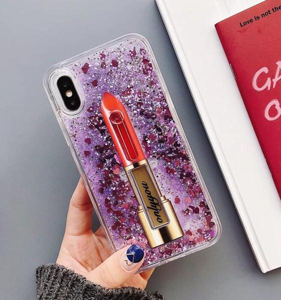 Étui de téléphone portable support de quicksand shell couleur pure poudre flash quicksand shell manchon de protection en gros pour iphone x