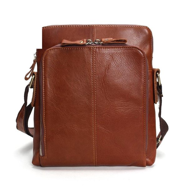 good quality Genuine Leather Men's Bags Crossbody Bags Flap Male Messenger Bag Men Leather Small Ipad Holder Shoulder Bag Naturally
