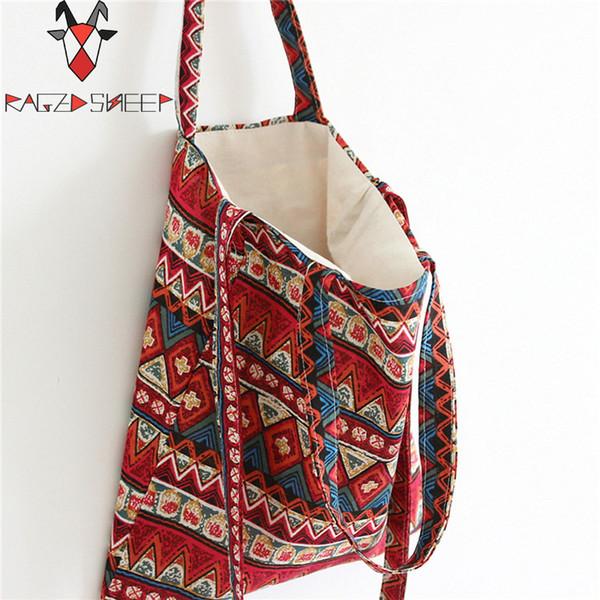 Raged Sheep Fashion Tote Shopping Bags Cotton Grocery Bags Folding Ethnic Style Shopping Cart Eco Grab Bag Reusable Bag