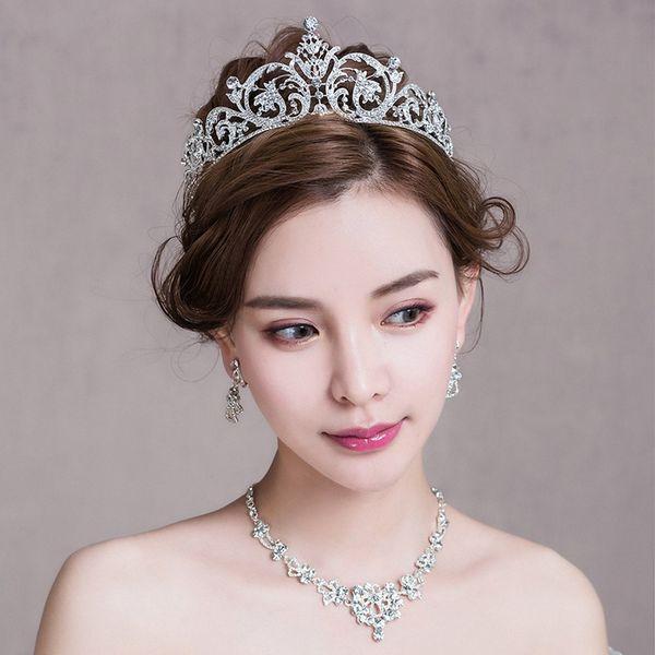 Strass Modeschmuck Set Braut Hochzeit Prinzessin Tiara Stirnband Haarschmuck Frauen Halskette Anhänger Clip-on Ohrringe