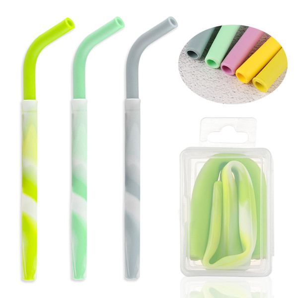 1 PC Collapsible Straw with Box Grade Folding Silicone Reusable Drinking Straw Eco Friendly Bar Accessories