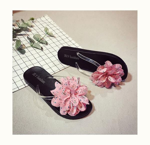 Sommer-Pantoffel-Frauen-Kursteilnehmer arbeiten koreanische Art Strand-Schuh-neue Blumen-Art- und Weiseflipflop-Rosa-Farben-Größe 36-40 um
