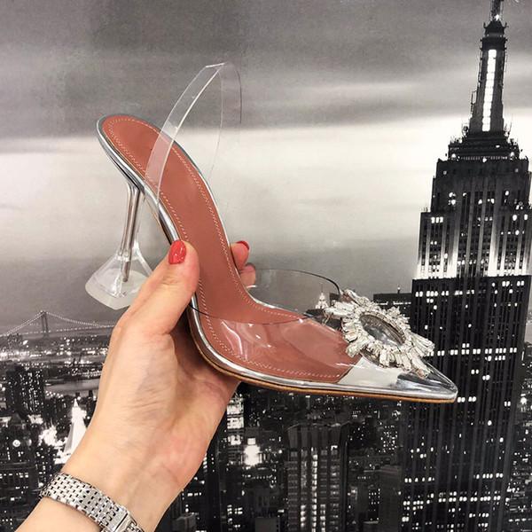 Diseñador de 2019 zapatos de tacón alto de cristal transparente, mujeres de cuero, zapatos de tacón alto para mujeres, punta estrecha, triángulo dorado con zapatos de boda11cm