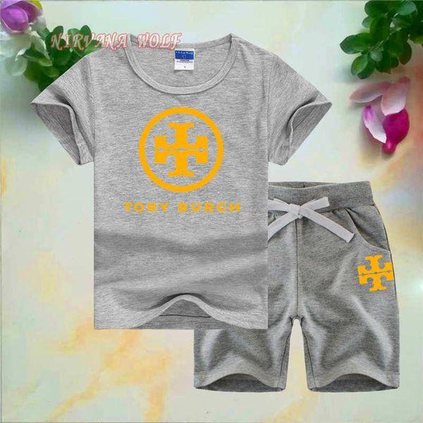 TBCH Little Kids Устанавливает 1-7T Детские футболки и шорты 2 шт. / Компл. Baby Boys Girls 95% хлопок TT Дизайн Стиль печати Летние комплекты