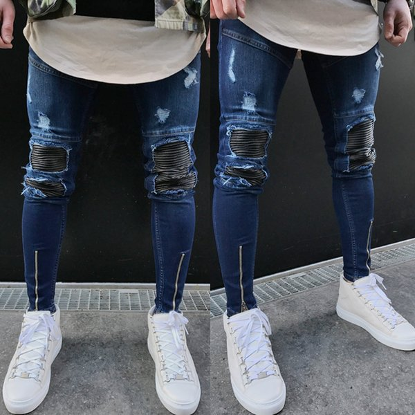 2020 men skinny denim pants biker fashion men's washed ripped destroyed jeans straight vintage frayed denim zipper street pants