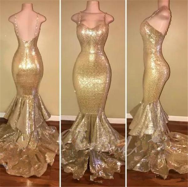 Altın Sequins Uzun Mermaid Gelinlik Kolsuz Spagetti Sapanlar Ruffles Backless Abiye giyim Uzun Örgün Parti Elbiseler