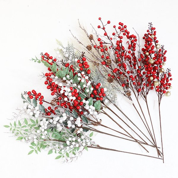 Christmas Berry Artificial Pine Cone Red Fruit for Christmas Decoration Fake Flower Artificial Pine Tree Branches