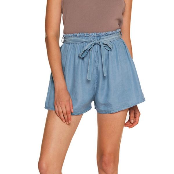 Été Femmes Casual Taille Haute une pièce Solide Couleur À Séchage Rapide Taille Élastique Beach Hot Pants Shorts # g7