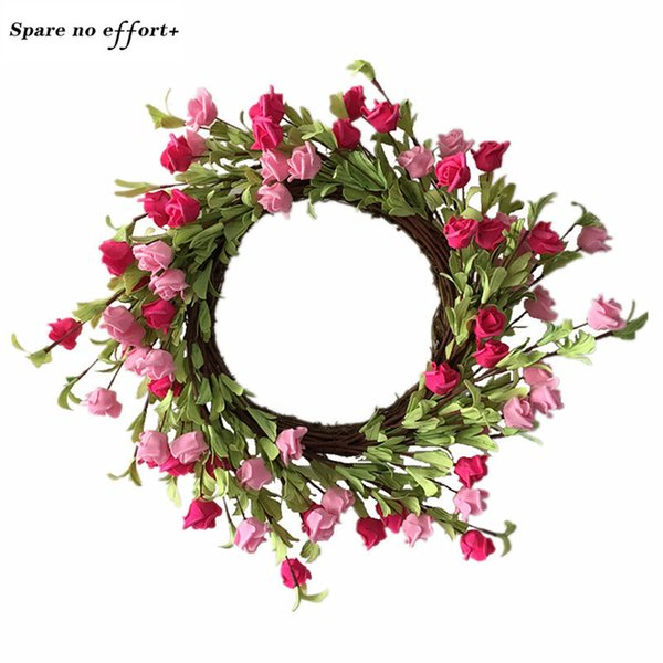 Round 56cm Rose wreath for Wedding decoration Easter Door Decoration Hawaii Party Wianki Na Wlosy christmas garland