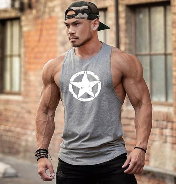 Sale New Fashion Cotton Sleeveless Shirts Tank Top Men Fitness Shirt Mens Singlet Bodybuilding Running Jogging Workout Gym Vest Fitness Men