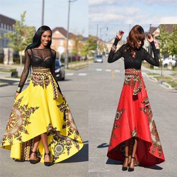 Falda maxi larga de verano para las mujeres de las señoras de la vendimia Boho Tribal impresión de moda africana falda paraguas irregular gran columpio DHL FJ179
