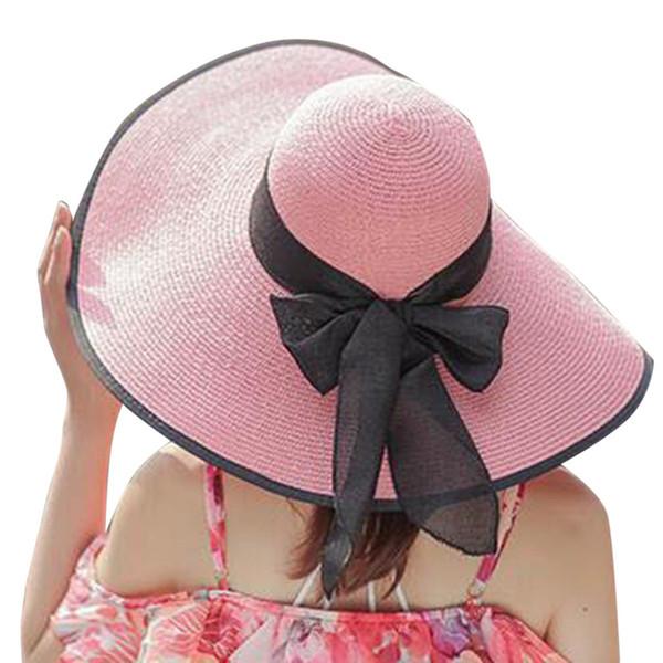 2019 Женщин Соломенная Шляпа Биг Брим Sun Floppy Шляпы Широкие Поля Новый Бантом Складная Пляжная Шапка W315