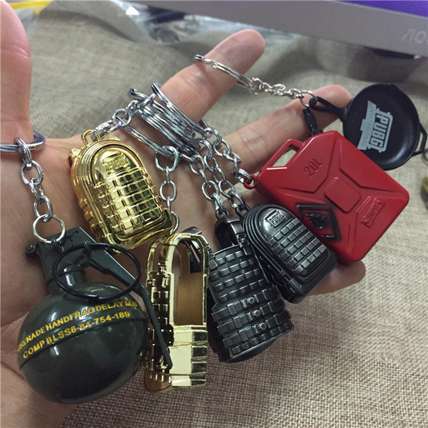 40 styles Best Selling Jedi Survival Around Eating Chicken Three level Backpack Nail Gun Key Ring Small Pendant Men's Key Chain Wholesale