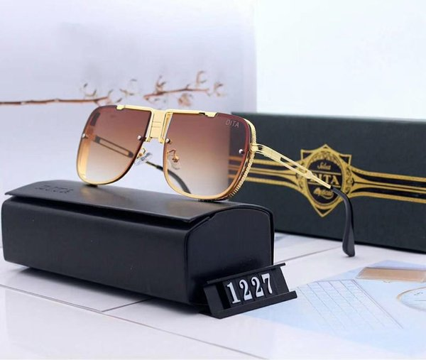 Fashion Metal Mens Woman Luxury Sunglasses Designer Sunglasses Adumbral Polorized Goggle Glasses Model 1227 7 Colors High Quality with Box