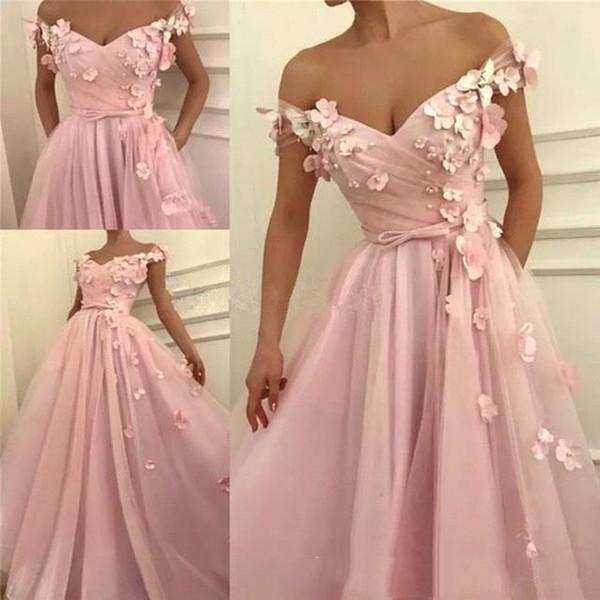 2019 fora do ombro vestidos de noite rosa com 3d floral apliques front dividir vestido de festa de baile bc0908
