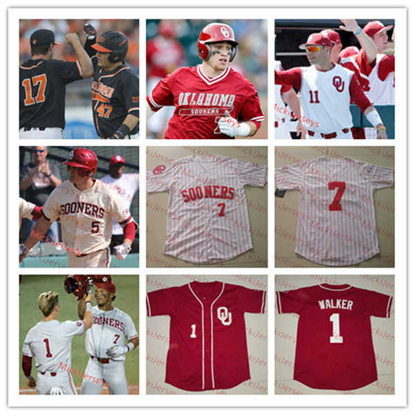 Personalizzato Oklahoma Sooners baseball Jersey Tyler Hardman Brandon Saragozza Nathan Wiles Cade Cavalli Brylie Ware Levi Prater OU Sooners Jersey