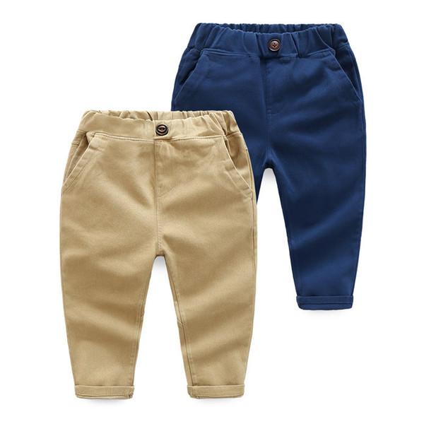 Enfants Printemps Automne coton vêtements enfants pantalons pour pantalons bébés garçons bleu khaqi pantalon pantalon 2019 tissés filles