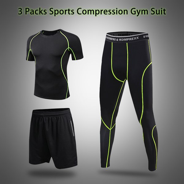 Men Fitness Sport Sports Set With Compression T-shirt Loose Fitting Shorts Tight Leggings Pants For Gym Yoga Running Work Out