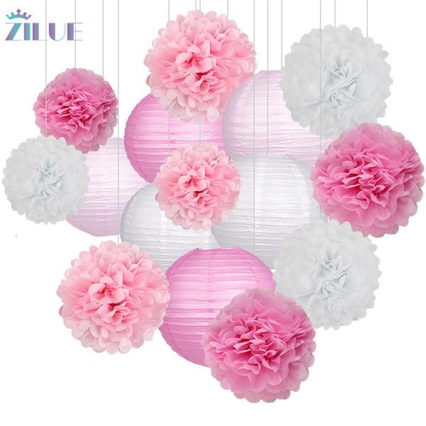 Zilue 15pcs / set papier boules de fleurs Poms papier boules en nid d'abeille lanternes en papier fête d'anniversaire de mariage anniversaire décoration de la maison T190709