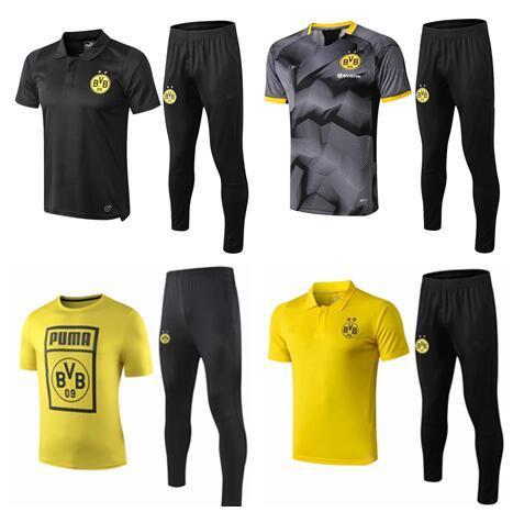 2019 Borussia Dortmund Short sleeve polo shirt soccer training suit 19 20 REUS PULISIC M.GOTZE Dortmund football shirt kit tracksuit