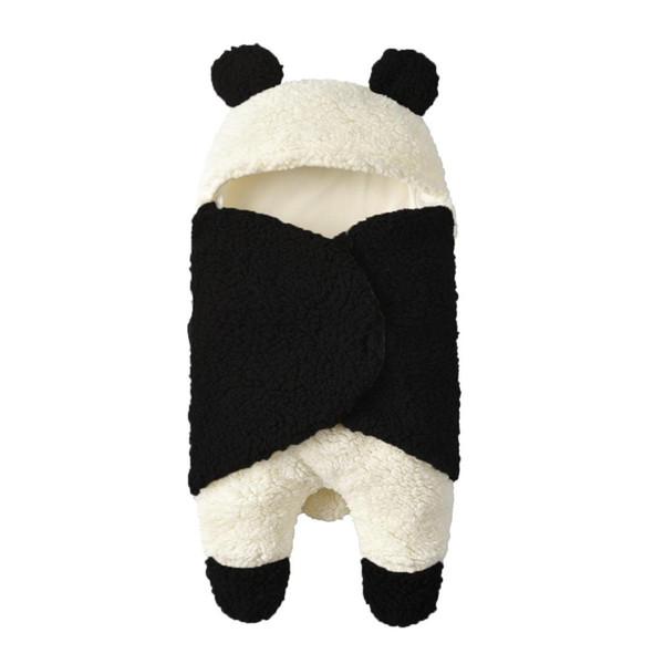 neues Lammwollbaby überschreiten weichen Plüsch-Baby-Panda-Karikatur-Wolllamm-Decke überzogenen warmen Schlafsack