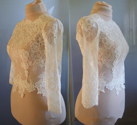 Высокая настройка сделал Белый и слоновой кости свадебные куртки иллюзия с длинным рукавом старинные кружева Болеро Куртка для свадебных вечерних платьев Wom