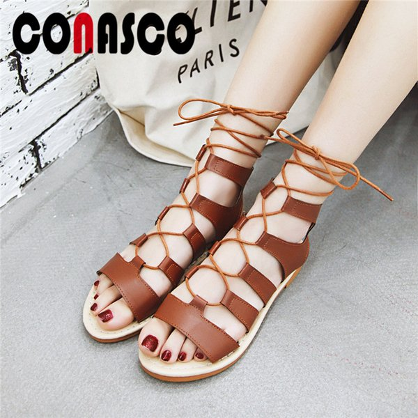 CONASCO Summer PU Leather Sandals Women New Brand Design Classic Sandals Flats Shoes Prom Leisure Shoes Sexy Elegant Ankle Boots