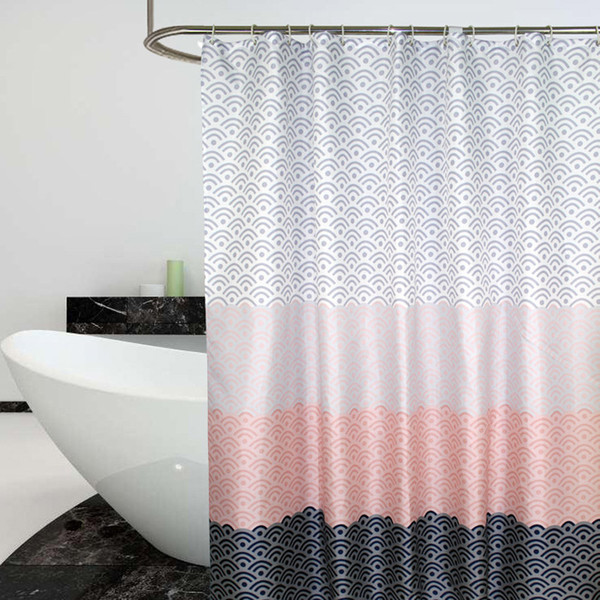 Nordic Shower Curtain Geometric Color Block Bath Curtains Bathroom For Bathtub Bathing Cover Extra Large Wide 12pcs Hooks