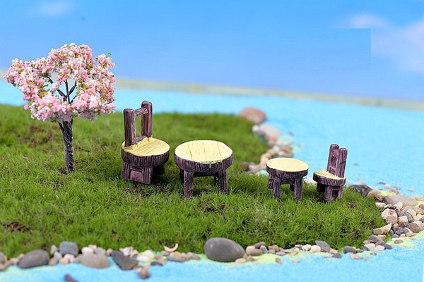 2pcs/set Round Table and Chair DIY Resin Handicraft Moss Terrarium Micro Landscape Fairy Garden Desktop Ornament W9761