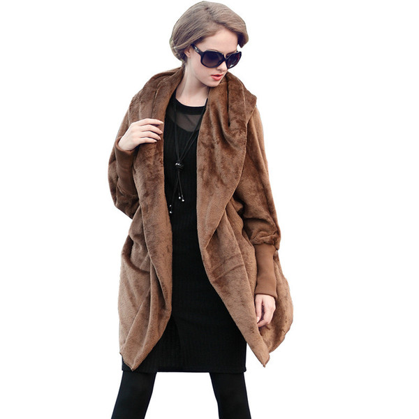 2019 New Large size Both sides Flannel cloak coat women Thicken Long sleeve Hooded jacket female Casual Keep warm Outerwear G527