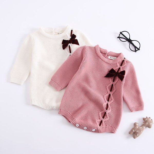 2019 Baby Girl Clothes Autumn Newborn Baby Girl Cotton Long Sleeve Sweater Knitted Romper Jumpsuit with Bow Romper Baby Clothes