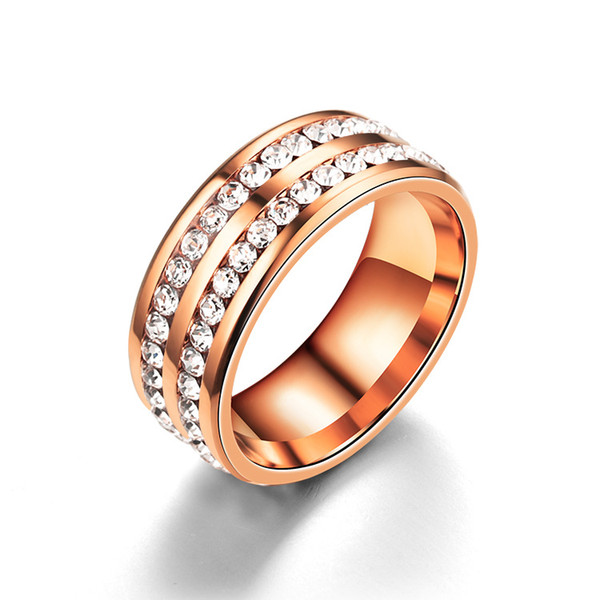 best selling Stainless Steel Two Rows Diamond Ring Rose gold Band Rings Wedding Ring mens women rings fashion jewelry will and sandy jewelry