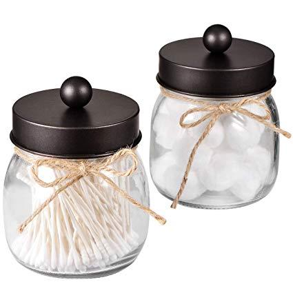best selling 70mm Mason Jar Antique Apothecary Lids Vanity Organizer- Silver Oil Rubbed Bronze Matte Black Canister Glass for Cotton Swabs - No Jars