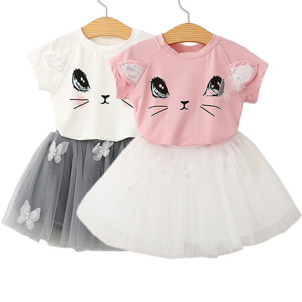 Pudcoco Girl Clothes Cotton 2-7T Adorable Kids Baby Girls Outfits Clothes T-shirt Tops+Tutu Dress Sets