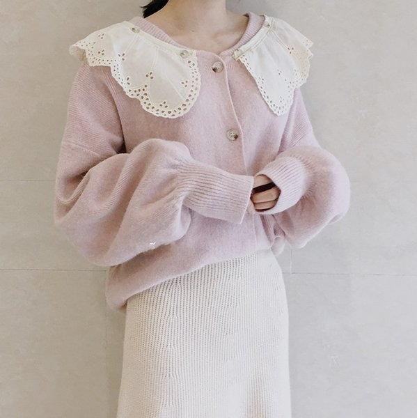 Chic Lace collar detachable sweet pink cardigan sweater mori girl 2018 autumn winter