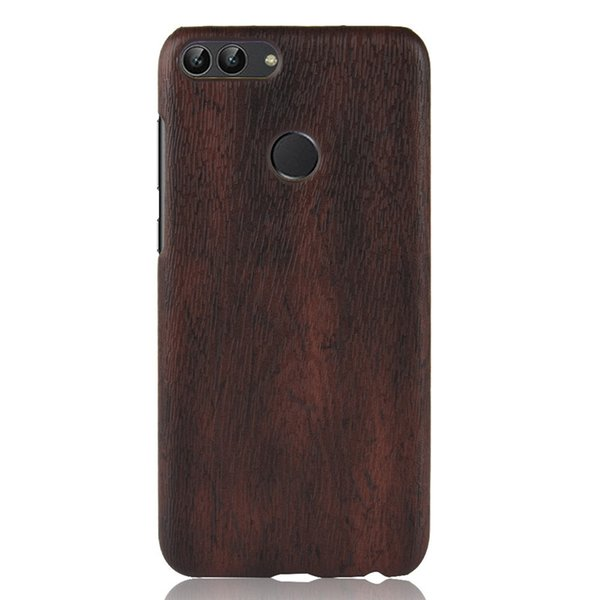 For Huawei P Smart Hard PC Leather Retro wood grain Phone Case For Huawei Enjoy 7S Back Cover