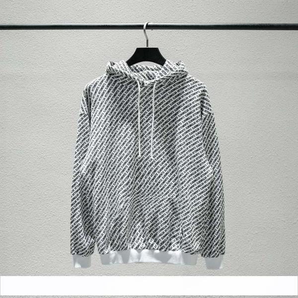 2018 Unisex Winter Autumn Fashion Vetements Allover Logo Print Hip Hop Hooded Haute Couture Sweatshirts Long Sleeve Hoodie