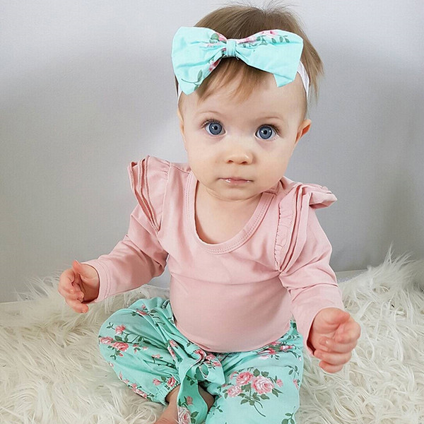 8c8113e420d59 2019 Cute Newborn Infant Baby Girl Clothes Ruffles Long Sleeve Pink Romper  Tops+Floral Pant Bow Headband Outfit Kid Clothing Set Y190515 From ...