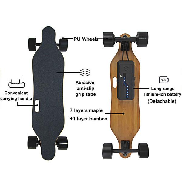 Impulso de Quatro Rodas Elétrica Skate Longboard Eletrônico Controlador Remoto Sem Fio Placa de Scooter Board hoverboard monociclo