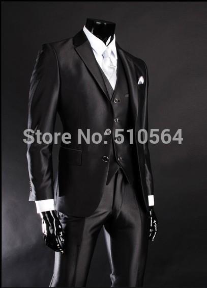Livraison Gratuite Brillant Slim Fit Mariée Tuxedos Noir Meilleur Homme Encoche Revers Groomsman Hommes Costumes De Mariage